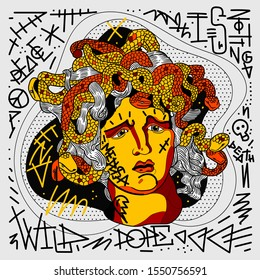 Medusa sculpture. Graffiti style with quotes. Vector hand drawn illustration.