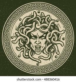 Medusa shield vector emblem.
