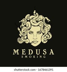 medusa smoking logo design vector