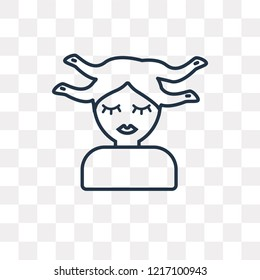 Medusa vector outline icon isolated on transparent background, high quality linear Medusa transparency concept can be used web and mobile