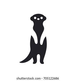 Meerkat standing on hind legs, stylized minimal icon or logo. Black silhouette vector illustration.