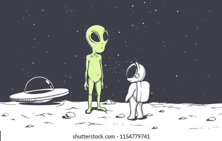 meeting of an alien and an astronaut on Moon.Space friends.Vector illustration