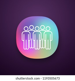 Meeting app icon. UI/UX user interface. Coalition policy. Protesters. Group of people. Voters, electorate. Political movement participants. Unconventional participation. Vector isolated illustration