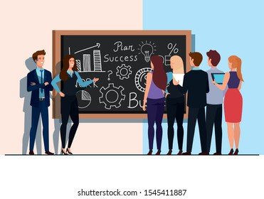 meeting brainstorm of business people vector illustration design
