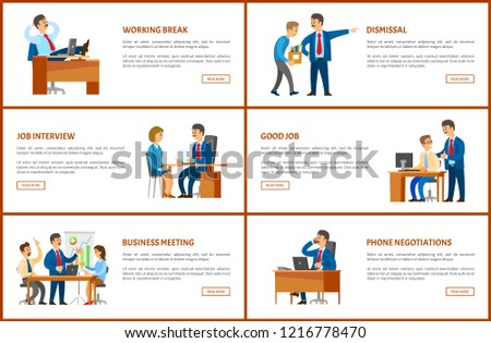 meeting break dismissal working order phone stock vector royalty
