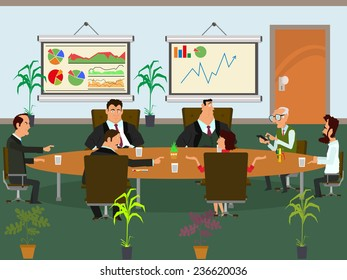 meeting business partners and discussion of business decisions. vector illustration. open space office building with working people.