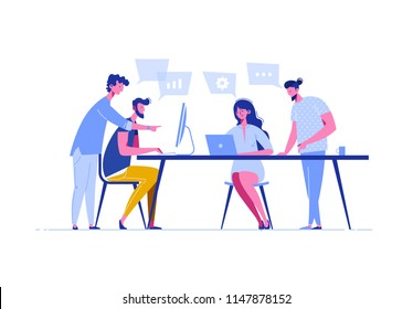 Meeting business people in a flat style. Team discusses social network, news, chat, dialogue speech bubbles near them, negotiate new projects. Discussion of the company's business strategy. Vector.