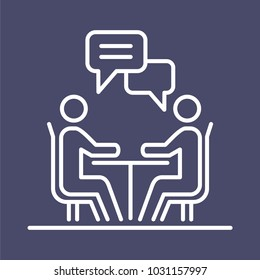 Meeting business people icon simple line flat illustration.