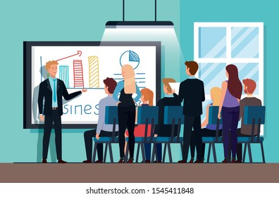 meeting of business people with infographic vector illustration design