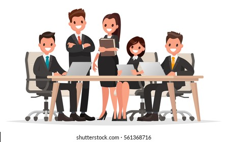 Meeting business people. Teamwork. Discussion of the company's business strategy. Vector illustration in a flat style