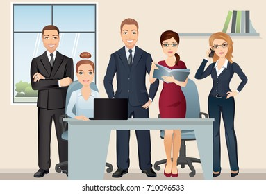 Meeting business people. Teamwork. Office team discussing and brainstorming in meeting room. / Vector illustration, flat design