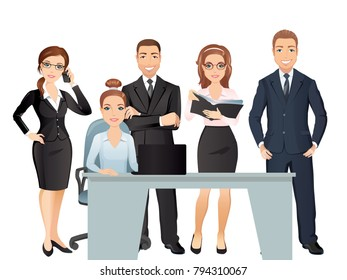 Meeting business people. Teamwork. Office employees discussing and brainstorming. / Vector illustration, flat design on white background
