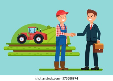 The meeting  businessmen shaking hands farmer .  Greeting to the partner and business  interactions handshake. Stock vector illustration flat style