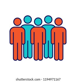 Meeting color icon. Coalition policy. Protesters. Group of people. Voters, electorate. Social and political movement participants. Crowd. Unconventional participation. Isolated vector illustration