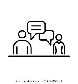 Meeting conversation business people icon simple line flat illustration.
