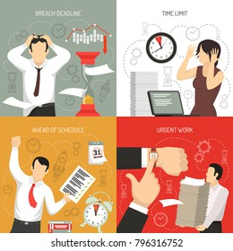 Meeting deadlines 4 flat icons concept with working ahead schedule and time limits breach isolated vector illustration