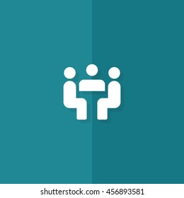 Meeting flat icon. You can be used meeting icon for several purposes like: websites, print templates, presentation templates, promotional materials, info-graphics, web and mobile phone apps.