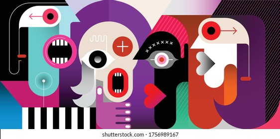Meeting of Four People modern art vector illustration. Four friends are talking.