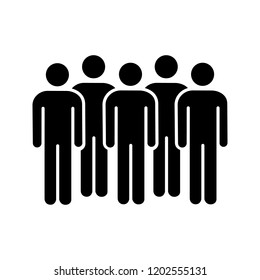 Meeting glyph icon. Coalition policy. Protesters. Group of people. Voters, electorate. Social and political movement participants. Crowd. Silhouette symbol. Vector isolated illustration
