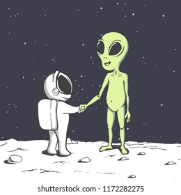 meeting and handshake of an alien and an astronaut in space.Cosmic friends.Vector illustration