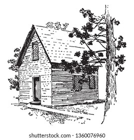 Meeting House of Roger Williams who  was a Puritan, an English Reformed theologian,vintage line drawing or engraving illustration.