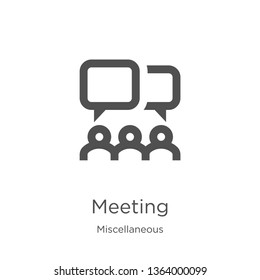 meeting icon. Element of miscellaneous collection for mobile concept and web apps icon. Outline, thin line meeting icon for website design and mobile, app development