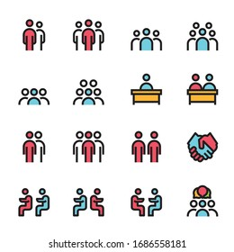 meeting icon line color vector illustration