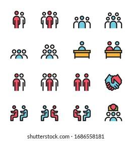 ilustración vectorial de línea de icono de reunión