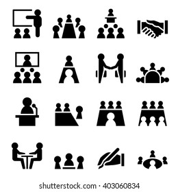 Meeting icon set Vector illustration
