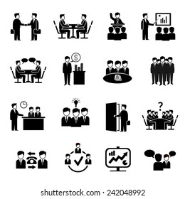 Meeting icons set with business people discussion management brainstorming symbols isolated vector illustration
