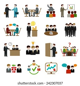 Meeting icons set with business teamwork corporate training and presentation symbols isolated vector illustration