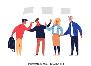 Meeting Negotiations Discuss Agreement Solution. People Conciliation Concept Perspective Partnership. Active Group with Leadership Agree Teamwork Plan Flat Cartoon Vector Illustration