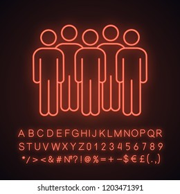 Meeting neon light icon. Coalition policy. Protesters. Group of people. Voters, electorate. Social and political movement. Crowd. Glowing sign with alphabet, numbers. Vector isolated illustration
