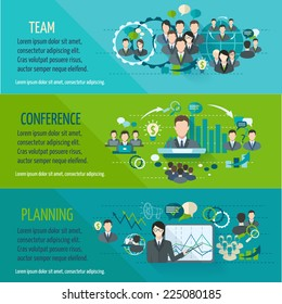 Meeting people horizontal banner set with team planning conference isolated vector illustration