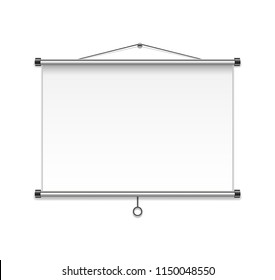 Meeting Projector Screen isolated on white wall. Realistic Blank Board or Presentation Display. vector Illustration