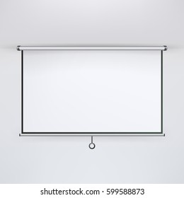 Meeting Projector Screen Vector. Blank White Board To Showcase Your Projects, Presentation Display Illustration