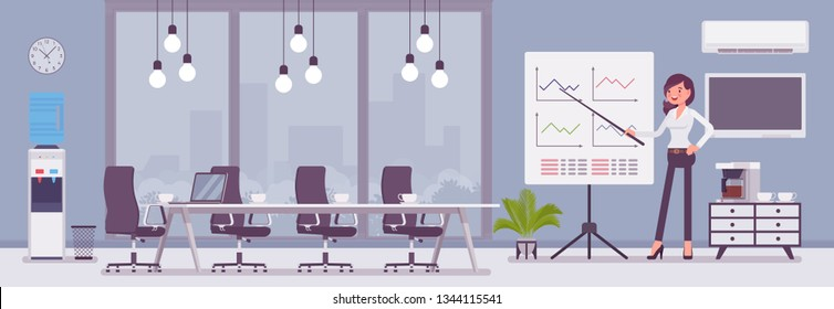 Meeting room in a business center office and female manager. Modern conference hall, preparation for formal event, corporate consultation or employee discussion. Vector flat style cartoon illustration