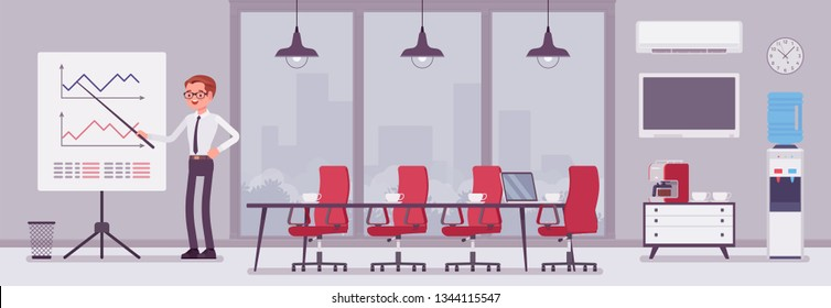 Meeting room in the business center office and male manager. Modern conference hall, preparation for formal event, corporate consultation or employee discussion. Vector flat style cartoon illustration