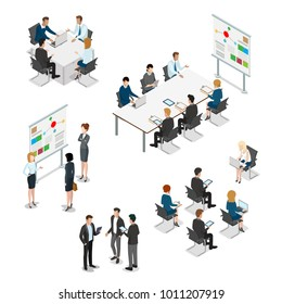 Meeting room presentation team work process flat 3d isometry isometric concept web infographics vector illustration. Interior block table teamwork report speaker. Business people characters collection