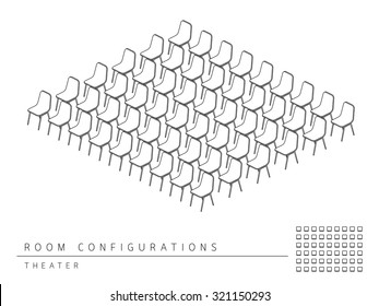 Meeting room setup layout configuration Theater isometric style, perspective 3d with top view illustration outline black and white color