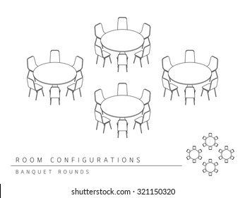Meeting room setup layout configuration Banquet Rounds isometric style, perspective 3d with top view illustration outline black and white color