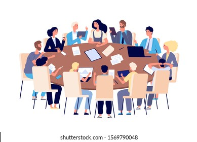 Meeting at table. People discussing ideas and problems in office. Teamwork, brainstorming and business conference vector concept