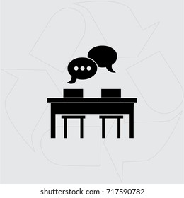 Meeting at the table vector web icon