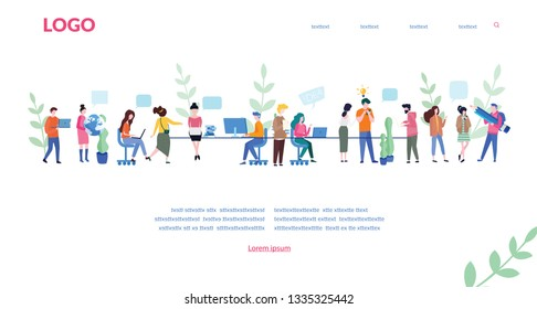 Meeting, teamwork, business people talking conference meeting room, social network, news, social networks, chat, time management, planning, task, workflow, Vector illustration.