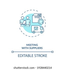 Meeting wtith suppliers concept icon. Business trip idea thin line illustration. Traveling during covid 19 pandemic. Tourism service. Vector isolated outline RGB color drawing. Editable stroke