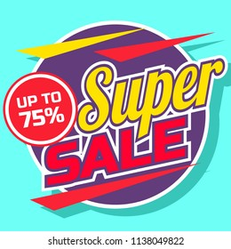 Mega big sale promotion banner design. Marketing strategy for clearance sale shopping poster template. Special offer discount flyer vector illustration