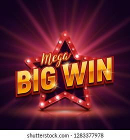 Mega Big Win banner with retro star. Vector illustration.
