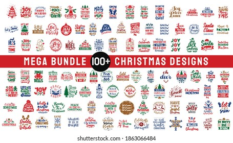 Mega bundle Christmas design typography quotes. Set of Christmas craft vector designs, Merry Christmas pack collection