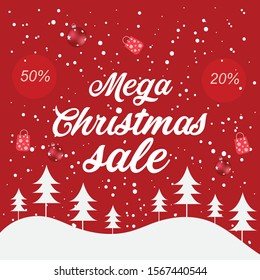 Mega Christmas sale banner with red background
