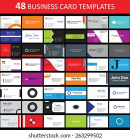 Mega collection of 48 abstract business cards or visiting cards on distinctive topic, horizontal arrangement. EPS 10.